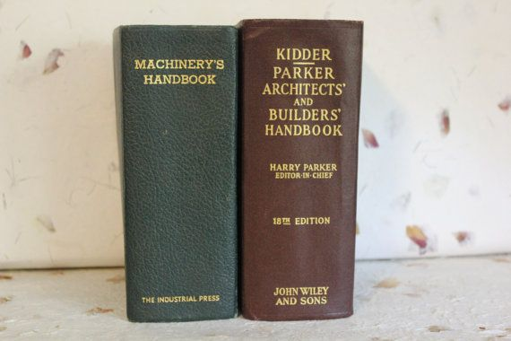 Vintage Books, Set of 2, 1940s, Machinery's Handbook, Parker Architects and Builders Handbook, Library Decor, Office Decor, Red Green Autumn