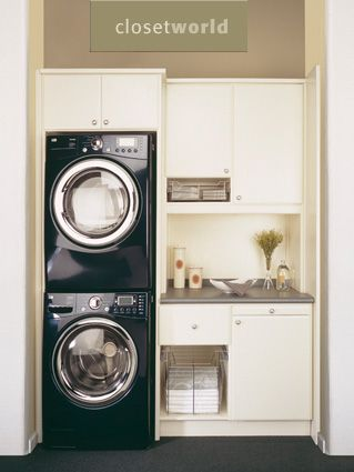 "If I get a stackable washer and dryer, I can  make the other side of the laundry room look like the right side of this picture - cabinets and a counter for folding! Possibly move the ""command center"" in there, too."