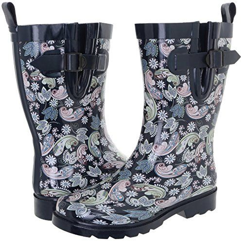 Capelli New York Ladies Ornate Paisley Multi Printed MidCalf Rubber Rain Boot Navy Combo 8 *** For more information, visit image link.