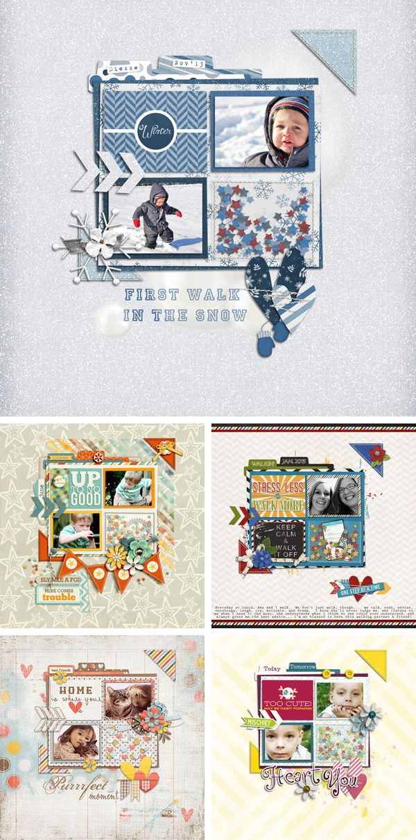 Digital Scrapbooking Layouts with akizo designs template