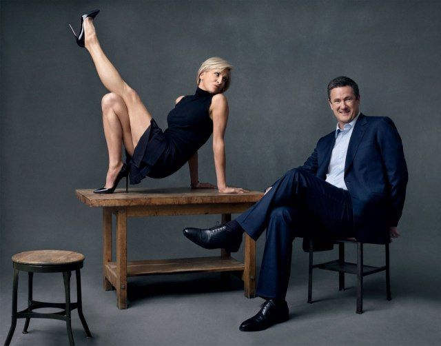 Joe Scarborough & Mika Brzezinski in Vanity Fair. Crazy picture, but I actually like Mika's high-neckline, sleeveless, navy blue dress. Scarborough's memoir should be interesting.