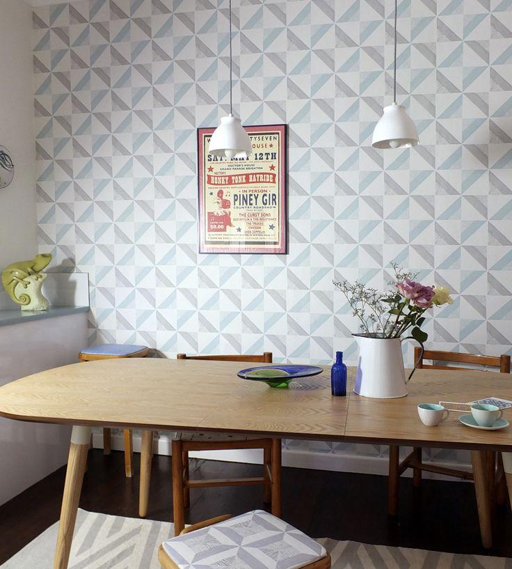 Contemporary Geometrics | Chalk Tile Wallpaper by Louise Body | Jane Clayton