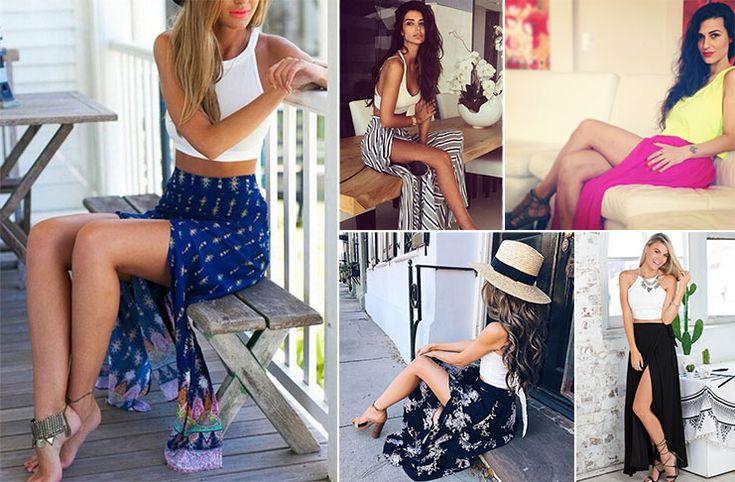 Μια από τις κυρίαρχες τάσεις της εποχής είναι τα σύνολα με μακριά φούστα και σκίσιμο, έτσι ώστε να βγαίνουν έξω τα καλλίγραμμα πόδια σας.