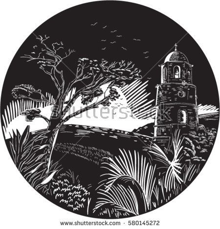 Illustration of a bellfry tower on a hill with trees nad birds set inside circle done in retro woodcut style.  #belfry #woodcut #illustration