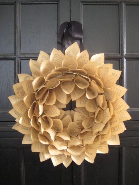 sunflower book page wreath