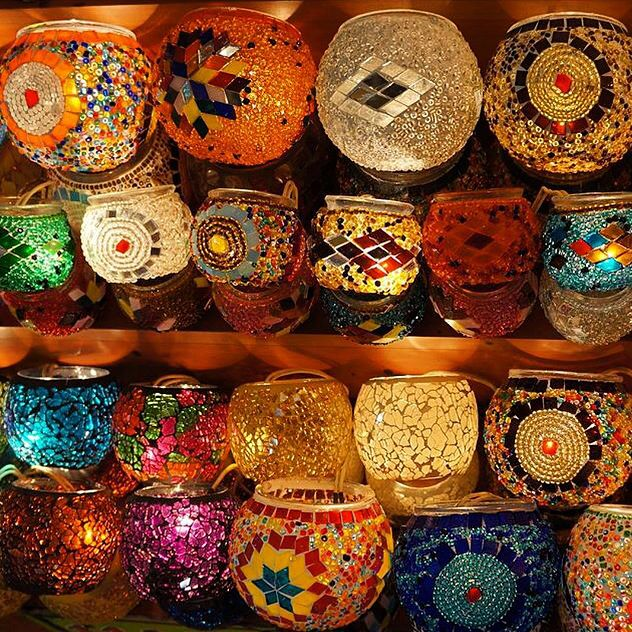 Mosaic Candle Holders, Boho Decor by www.grandbazaarshopping.com
