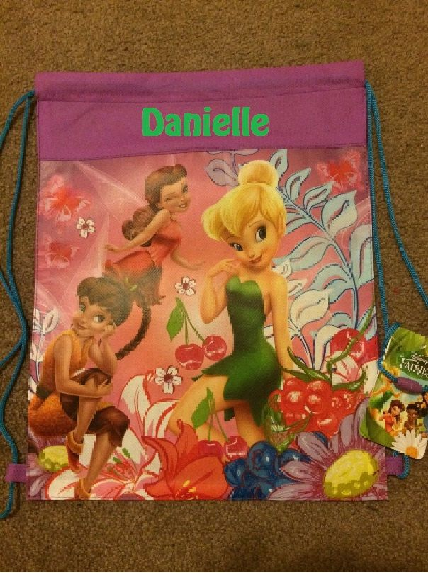 Disney Faries TINK Tinkerbell Drawstring Backpack Sling Bag – Personalized by CACBaskets on Etsy