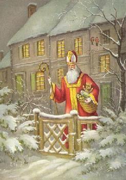 Père Noël :  Saint Nicolas a été importé aux Etats-Unis au XVIIe siècle par les immigrés allemands ou hollandais. Puis, en  1821, un pasteur américain écrivit un conte de Noël avec un personnage dans un traineau tiré par 8 rennes.: