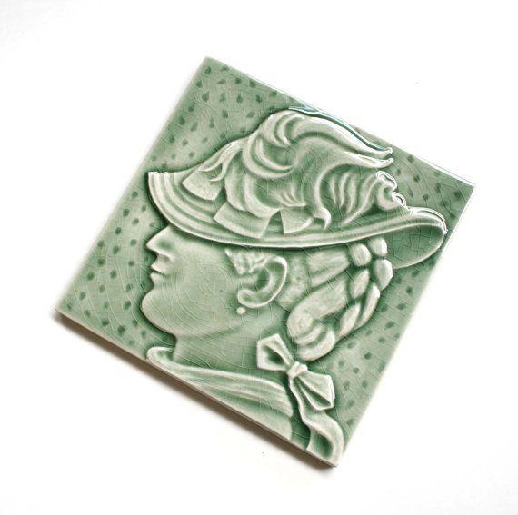 Female portrait fireplace tile for your by LesperanceTile on Etsy