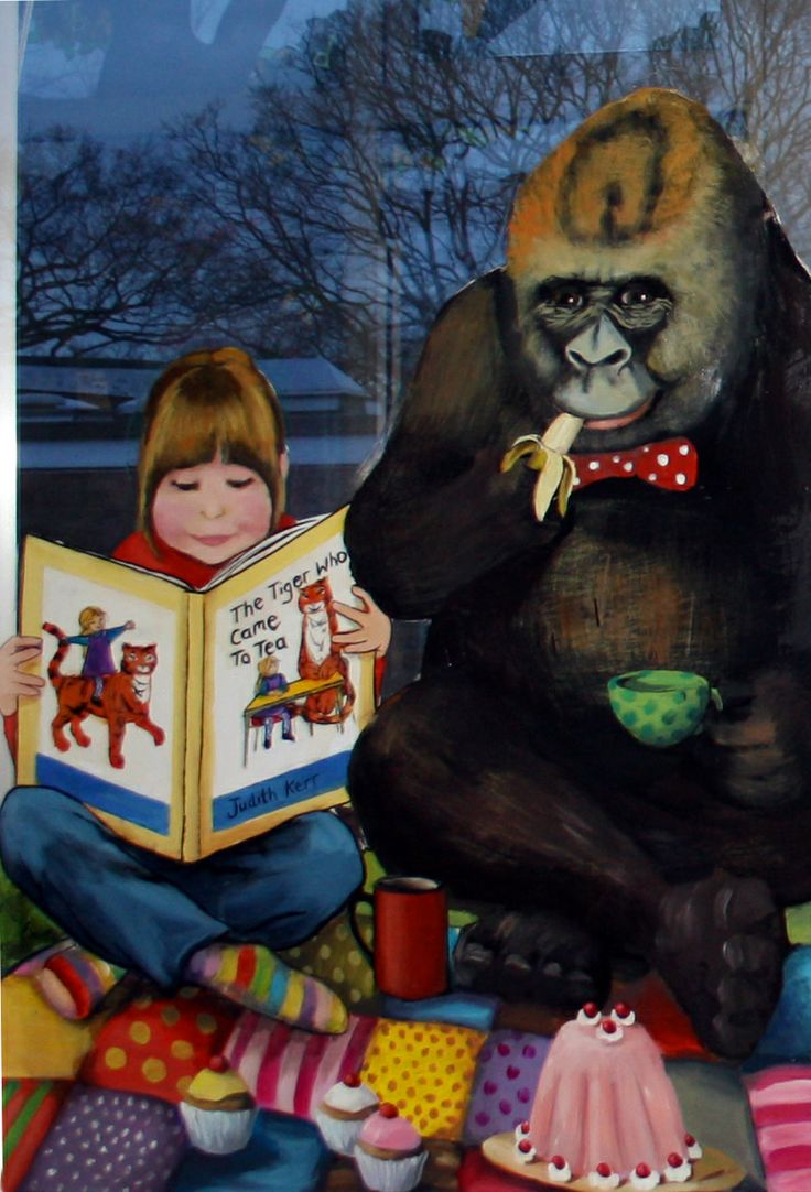 Anthony Browne Gorilla mural on the window, school library