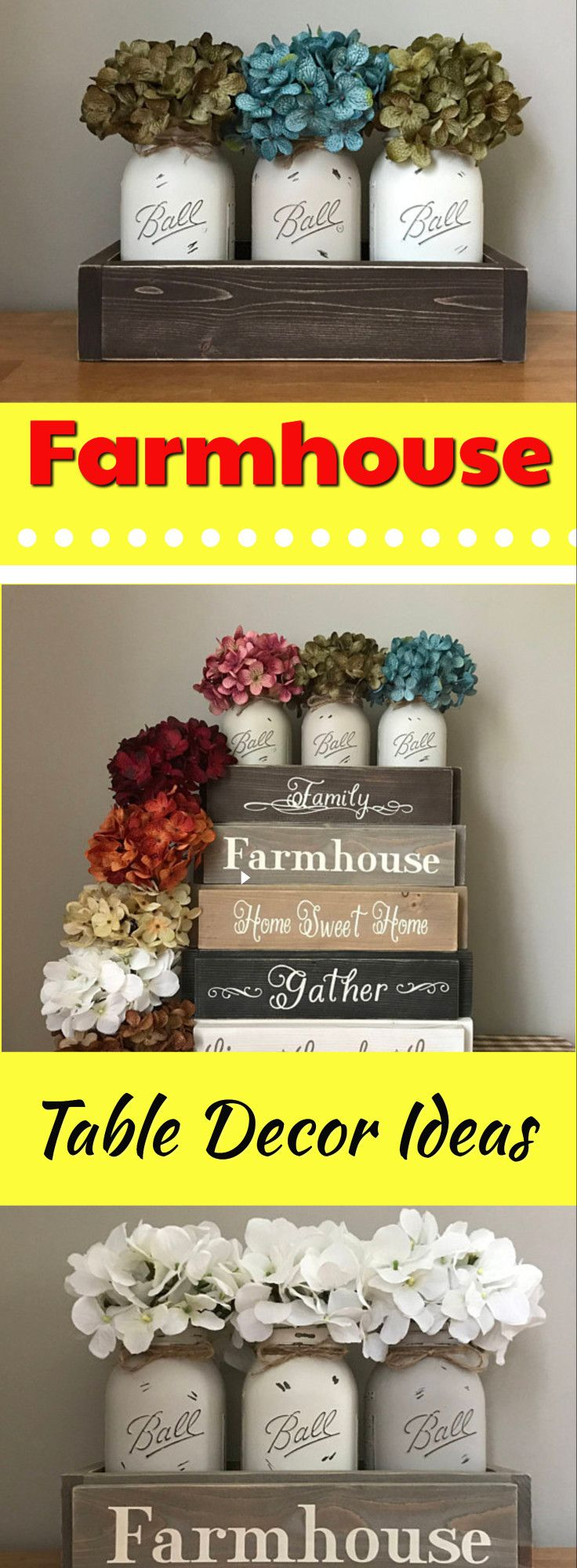 Check out these beautiful Farmhouse Table Centerpieces. Mason Jar Centerpiece, Rustic Modern Farmhouse Table Decor, Mason Jar Decor, Flower Arrangement, Kitchen Dining Table Centerpiece, Wood Sign #farmhousetabledecor #ad #farmhousestyle