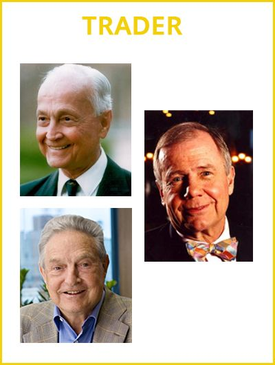 Trader: They are more sensory than creative, with their ear to the ground and not their head in the clouds. By being so grounded, they sometimes get stuck in the mud.  They don't try and start businesses, but master a market and their own sense of timing in trading what's already there. Examples being George Soros, John Templeton and Jim Roger. Pin it and let your friends know who have this profile type- Read more - http://bit.ly/1IvWTXf