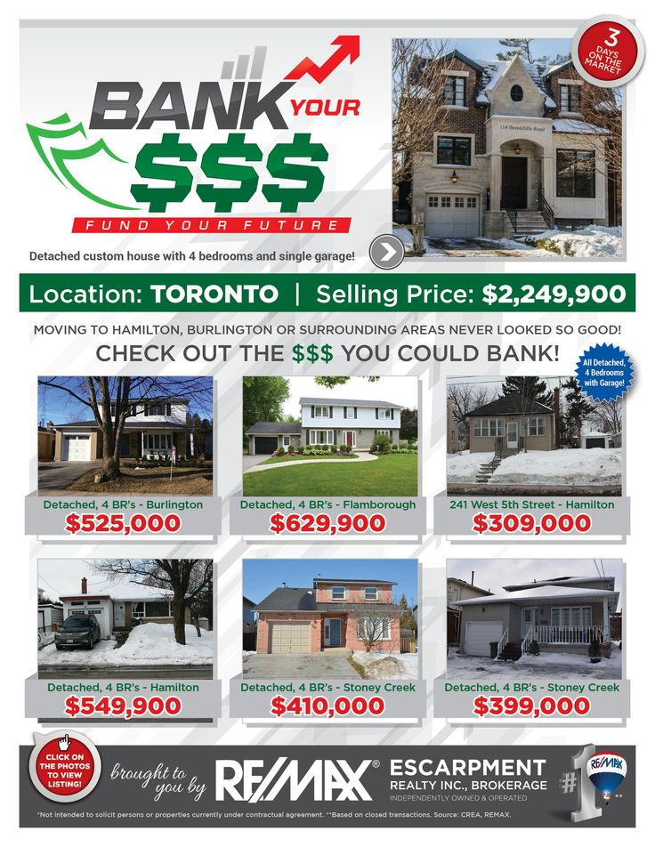 Bank Your $$$: FUND YOUR FUTURE   Do you enjoy saving money? Perhaps leaving the GTA where pricing is outrageous and moving to the Hamilton/Burlington or a Surrounding Area where pricing is more reasonable is just the opportunity for you and your family!   Check out some of our current listings to see the comparison and the $$$ you could BANK!!!     If these homes are NOT in your price range, then check out www.whatchagetfor.com  to find homes within your budget.