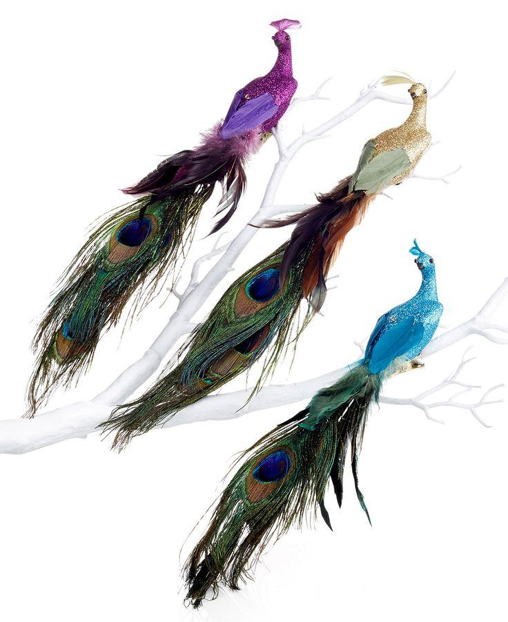 Holiday Lane Set of 3 Peacock Bird Ornaments - Holiday Lane - Macy's: