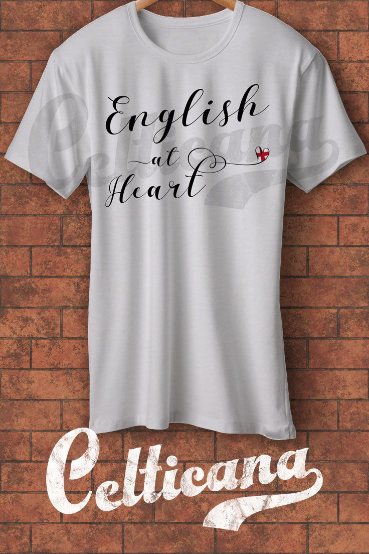 English at Heart t-shirts. If you are an Anglophile, you'll love this design! This scripted typographic design features the flag of England - the St Georges Cross in a heart. This design is available on a wide range of apparel, in unisex styles, and styles for men, women and kids. Here at Celticana we design ancestry, genealogy, country, state and city inspired t-shirts, hoodies and more. Wear the places you love!