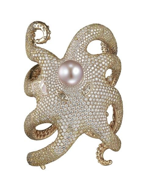 Shawish bespoke Octopus bracelet in pink gold, set with white, brown and yellow round-brilliant diamonds and a pink pearl. This one-of-a-kind bracelet is fitted with Shawish light technology, which lights up the Octopus from within.