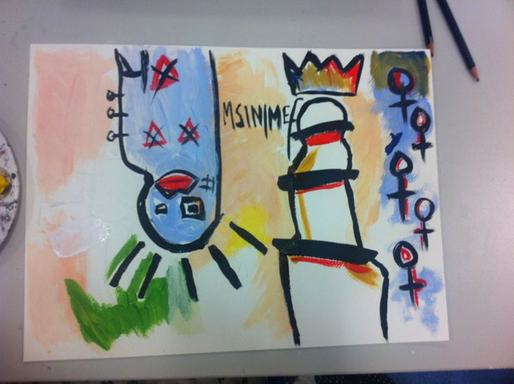 1. Starting the image. To begin with creating my inspired image I looked at Basquiat's and Schnabel's work, I then drew thumbnails of what I aimed the image to look like without putting too much thought into it as my first idea was the one I stuck with. I chose to use watercolour as this is my favourite medium and started painting on cartridge paper. The message I was conveying with this, as Basquiat always tried to do, was underage marriage in foreign countries.