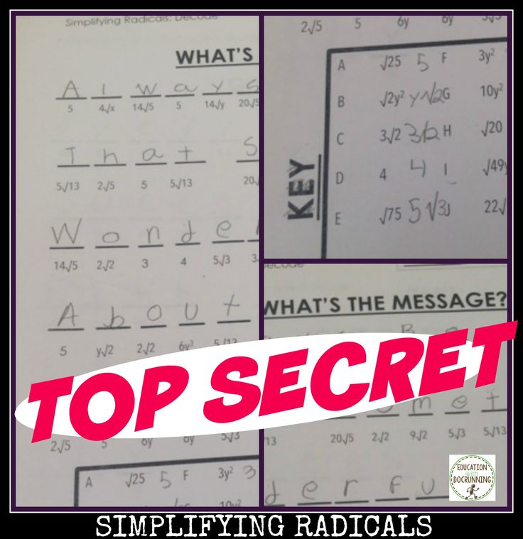 Simplifying Radicals Activity Coded Message for fractional