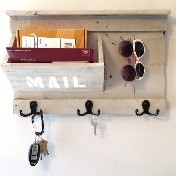 Mail / Keys / Sunglasses holder made from reclaimed pallet wood - Entryway Organizer