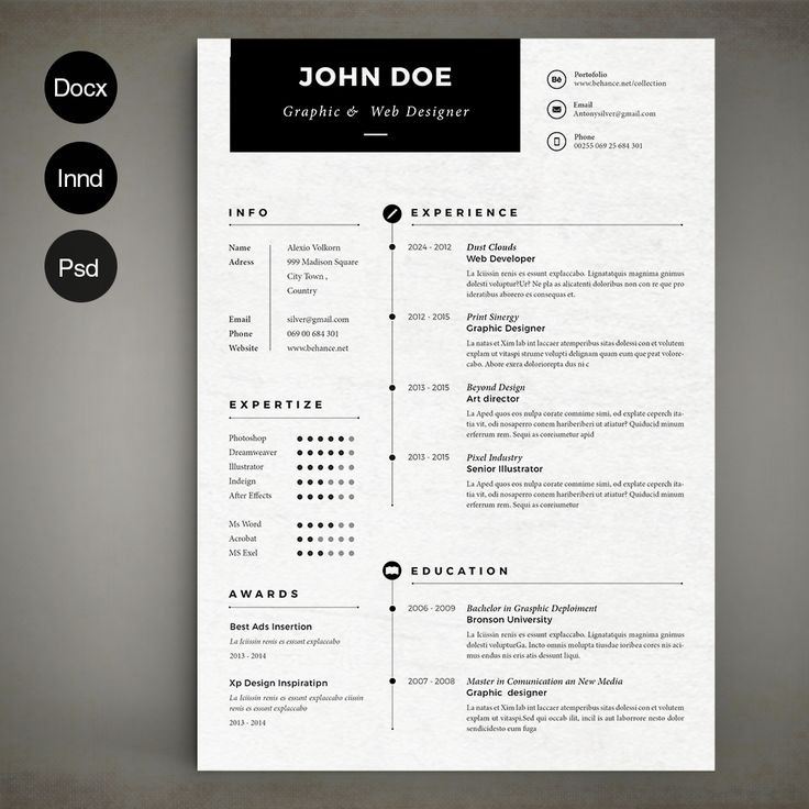 Simple Resume By Estartshop On Creative Market  Simple Graphic Design Resume
