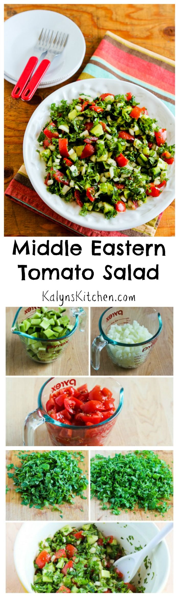 I learned to make this classic Middle Eastern Tomato Salad from my Iranian friend Massoud, and this fantastic salad is something I've made for holiday parties and summer dinners for years and years. Every middle eastern cook has a slightly different version of this salad, but I like plenty of freshly chopped parsley and mint, plus lots of lemon to make the flavors sing! [from KalynsKitchen.com]