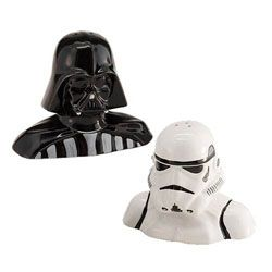 Your holiday Star Wars gifts should be well seasoned! Star Wars Darth Vader and Stormtrooper Salt and Pepper Shakers.