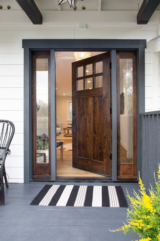 Dark Walnut Front Door With Side Windows In 2020 Front Doors With Windows House Front Door Bay Window Exterior