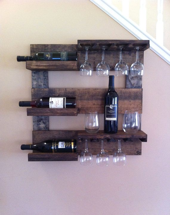Wine Rack Rustic Reclaimed Wood Wall Display Gl Holder Hanging Mount