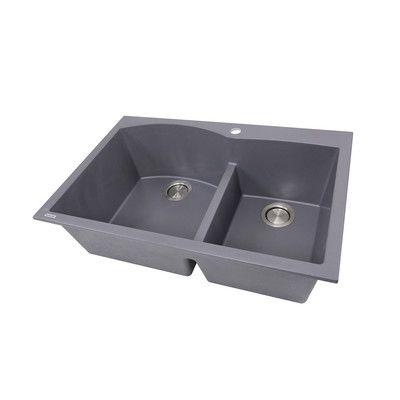 nantucket sinks plymouth 33 x 22 double bowl dual mount granite composite kitchen sink - Kitchen Sink Titanium