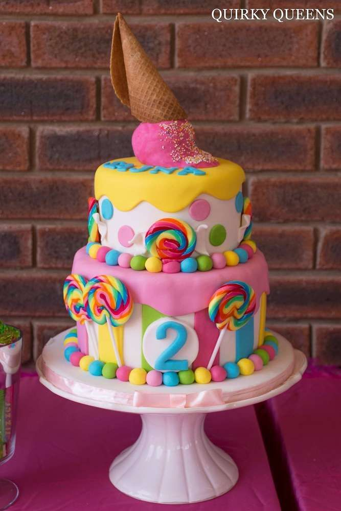 Candyland birthday party cake! See more party planning ideas at CatchMyParty.com!