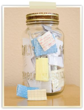 this would be a great idea for a college student going away for the year...a friend with a new job or who has moved away...or your loved one: Grab a mason jar and 365 small pieces of paper. Write little notes, jokes, thoughts, etc on the papers and put them in the jar...