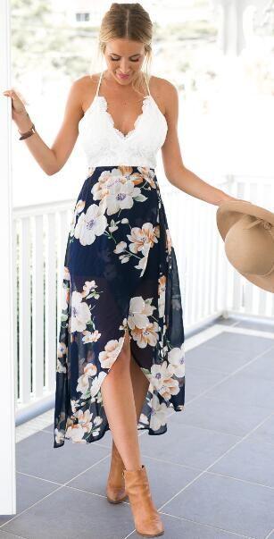 Open Back Lace Floral Dress