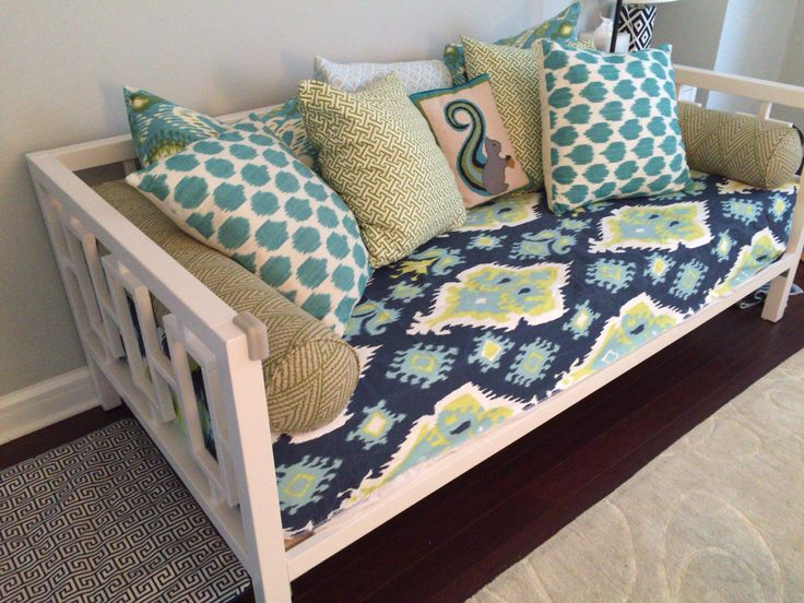 Fitted Daybed cover in twin, twin xl and full mattress cover, customize fabric, size (pictured in Premier Prints Ikat Canal Slub) mattress by DeeanasDesigns on Etsy