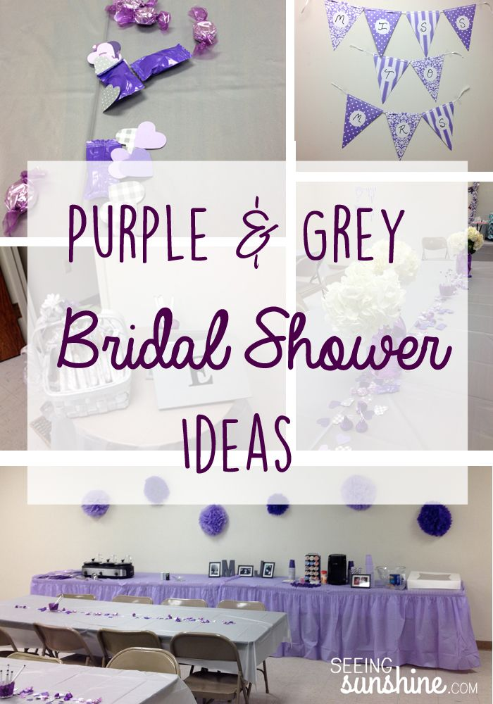 Purple & Grey Bridal Shower Ideas: Bridal Brunch menu, decorations, games, and more!