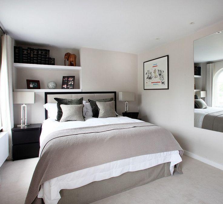Wohnungseinrichtung Ideen Schlafzimmer Creme Taupe Schwarz Wandspiegel