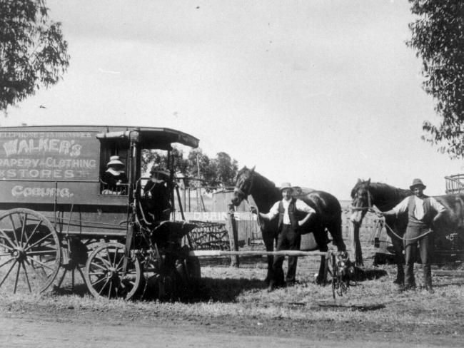 Walkers of Coburg, clothing and drapery store staff on the road.
