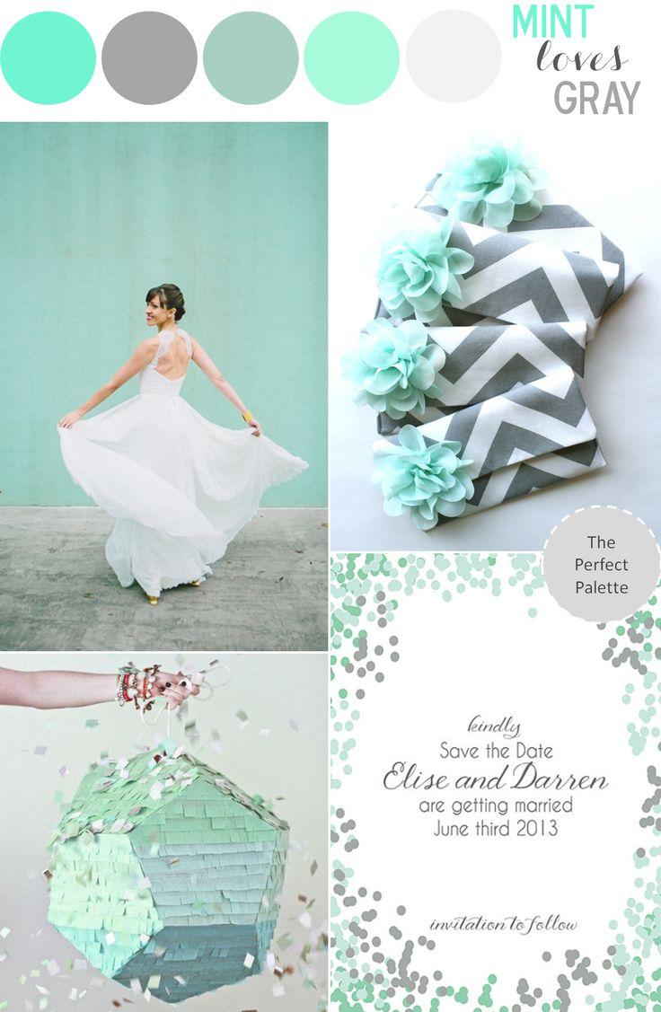 Mint Loves Gray wedding color palette