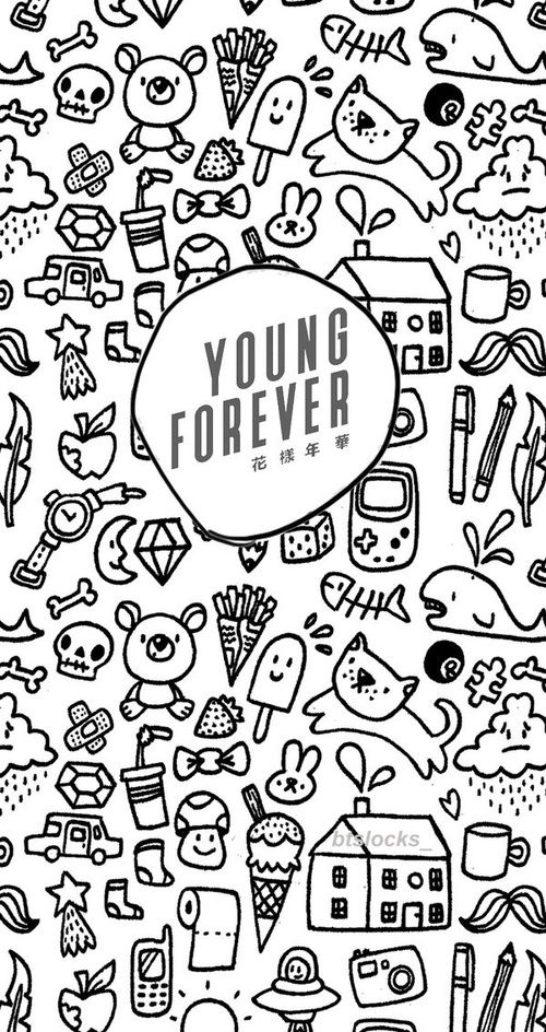 BTS || YOUNG FOREVER || DOODLE || WALLPAPER