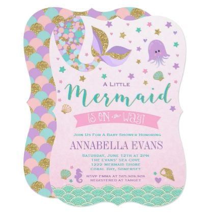 Mermaid Baby Shower Invitation Little Mermaid Baby - giftidea gift present idea one first bday birthday 1stbirthday party 1st
