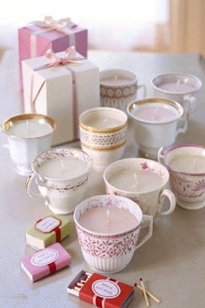 Tea Party Candle favors... this would be so cute! @Cynthia Reyes