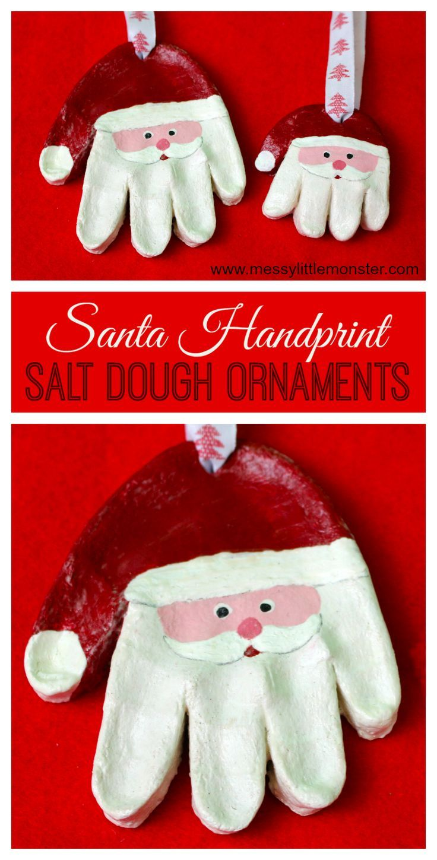 Santa Salt Dough Handprint Ornaments Easy Salt Dough Recipe Fun Christmas Crafts Christmas Crafts For Kids To Make Kids Christmas Ornaments