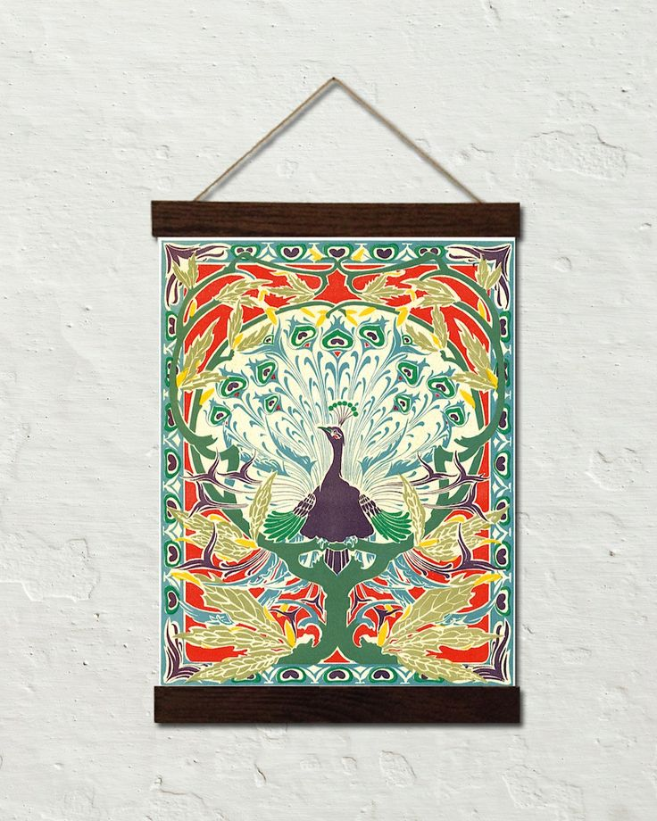Art Nouveau Peacock Canvas Wall Hanging