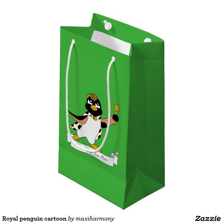 Royal penguin cartoon small gift bag