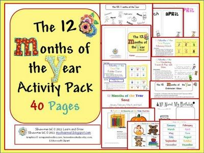 The 12 Months of the Year Activity Pack (free download)