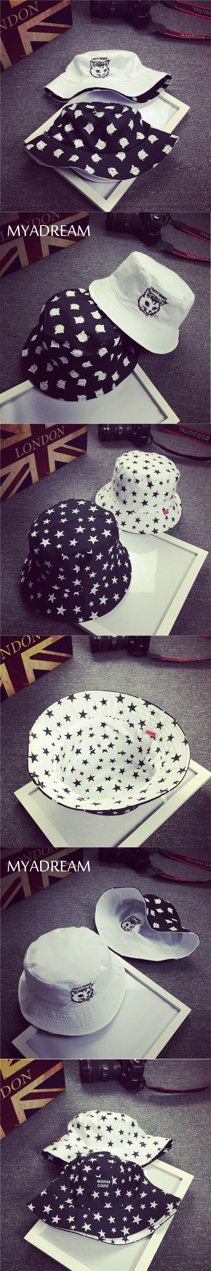 MYADREAM Double-sided Wear Cat Star Print Bucket Hat Men Women Fishing Hat Casual Embroidery Flat Top Boonie Hat Bape Cap Boina