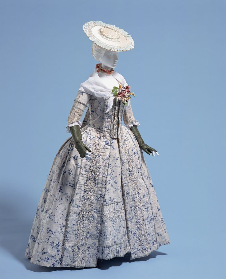 Blue vine pattern gown Kyoto Costume Institute AC7621 92-34-2AB http://americanduchess.blogspot.com/2011/03/american-duchess-18th-century-fabric.html http://www.spoonflower.com/fabric/490233