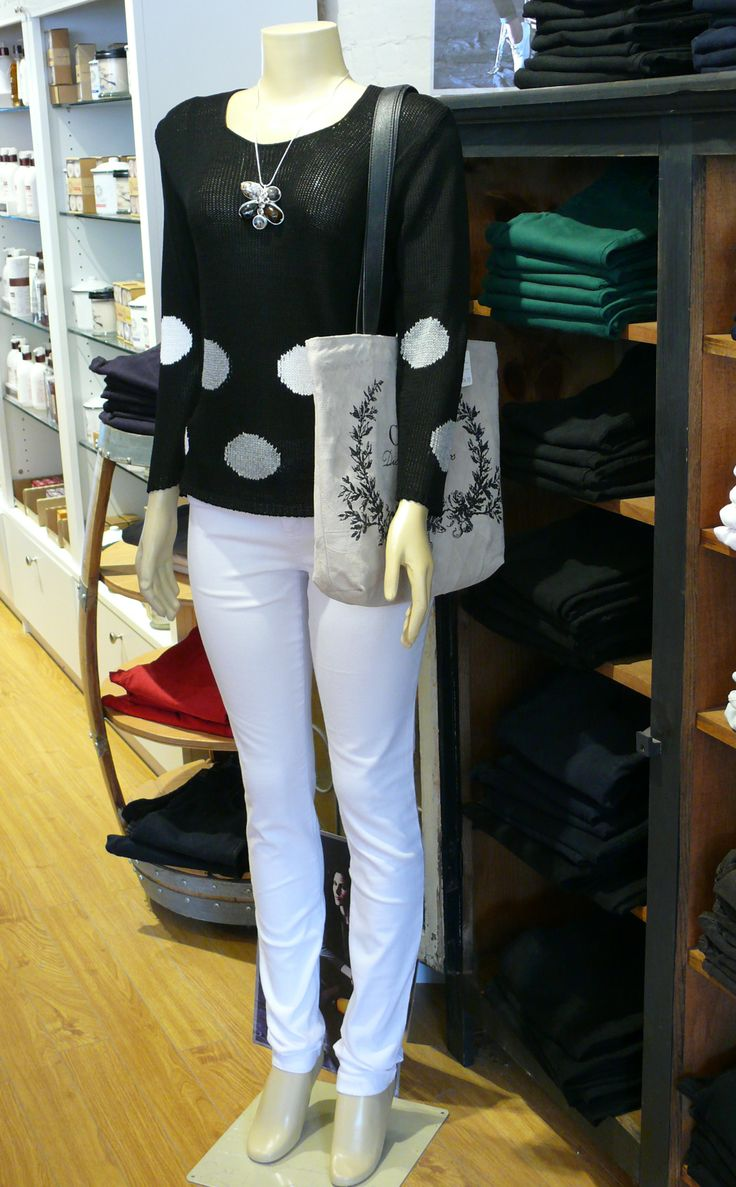 Fantastic Yoga Jeans and a great summer weight sweater by Parkhurst, available at The Kawartha Store, Fenelon Falls, Ontario