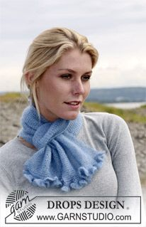 """DROPS small scarf in garter st in """"Kid-Silk"""" with crochet borders. ~ DROPS Design"""