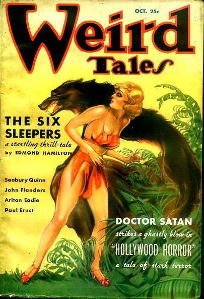 Cover of the pulp magazine Weird Tales (October 1935, vol. 26, no. 4) featuring The Six Sleepers by Edmond Hamilton. Cover art by Margaret Brundage