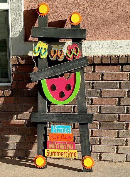 Summer Interchangeable ladder kit | Slivers Wood Crafts, Slivers, Slivers wood craft, wood craft,